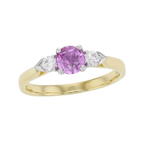 alternative engagement ring, 18ct yellow gold & platinum round brilliant cut diamond & oval cut pink sapphire trilogy ring designer three stone dress ring handmade by Faller, hand crafted, precious jewellery, jewelry, ladies , woman