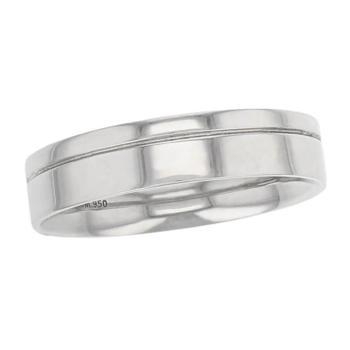 off centre groove polished wedding ring pattern, men's, gents