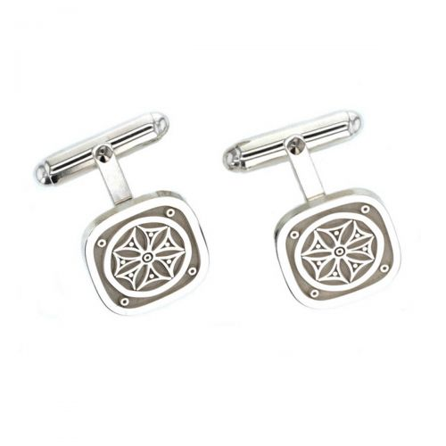 Faller Marigold pillar Stone sterling silver cufflinks, Carndonagh, Inishowen, Co. Donegal, celtic, ancient, monastery, St, Patrick, ladies, heritage, historical, intricate carving, Christian pilgrimage, medieval, designer, handmade by Faller, hand crafted, precious jewellery, jewelry, hand crafted custom made, personalised engraving
