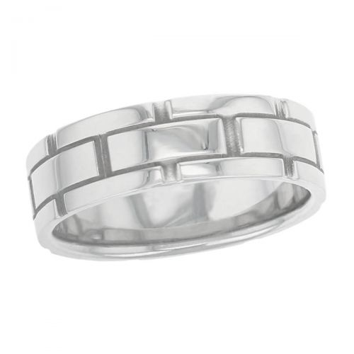 groove polished wedding ring pattern, men's, gents, brick pattern