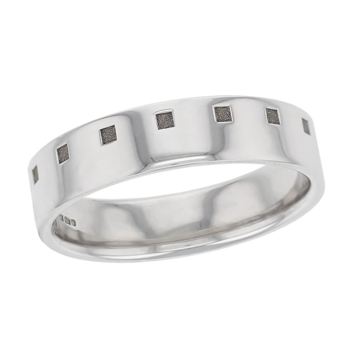 line of squares off centre polished wedding ring pattern, men's, gentsp, made by Fallerattern