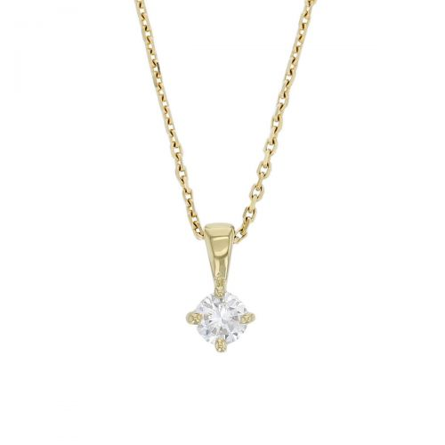 Faller round brilliant cut 4 claw set diamond 18ct yellow gold ladies solitaire pendant with chain, 18kt, designer, handmade by Faller, Derry/ Londonderry, hand crafted, precious jewellery, jewelry