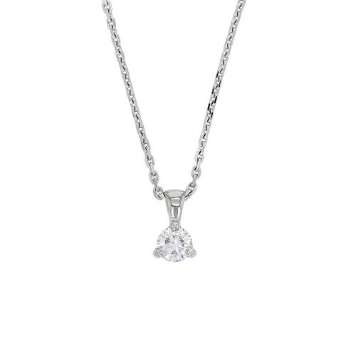 Faller round brilliant cut 3 claw set diamond 18ct white gold ladies solitaire pendant with chain, 18kt, designer, handmade by Faller, Derry/ Londonderry, hand crafted, precious jewellery, jewelry