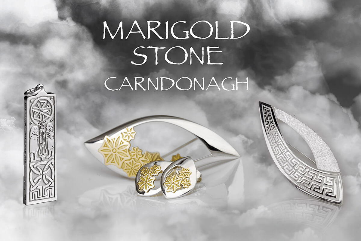 Faller Marigold Stone Jewellery Collection, pillar stone, Carndonagh, Inishowen, Co. Donegal, celtic, ancient, monastery, St, Patrick, ladies & men's jewellery, heritage, historical, intricate carving, Christian pilgrimage, medieval, St. Columba, sterling silver & 18ct yellow & rose gold, Marigold Floral, Marigold Maze