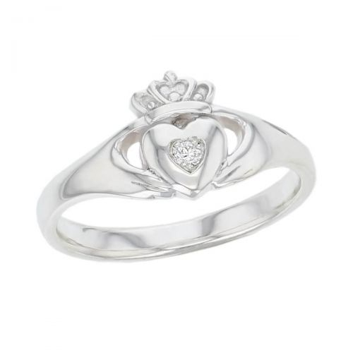 Faller Claddagh, sterling silver, Irish, love, loyalty & friendship, hands, heart & crown, dress ring, ladies, diamond