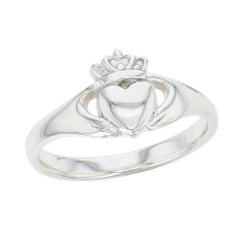Faller Claddagh, sterling silver, Irish, love, loyalty & friendship, hands, heart & crown, dress ring, ladies