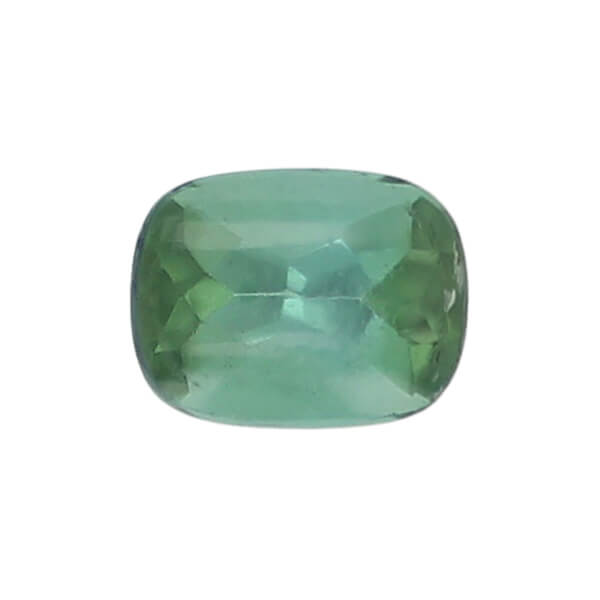tourmaline gem, green, loose gemstone, unset stone, cushion shape, faceted