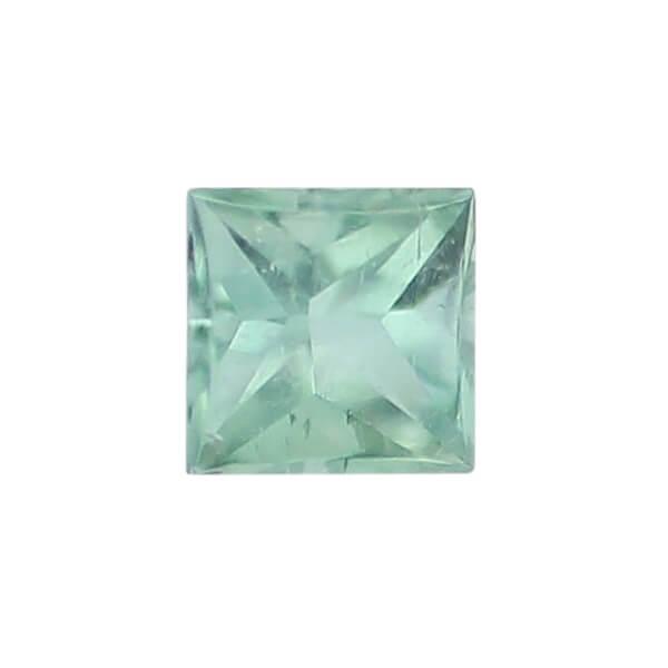 tourmaline gem, green, loose gemstone, unset stone, square shape, faceted
