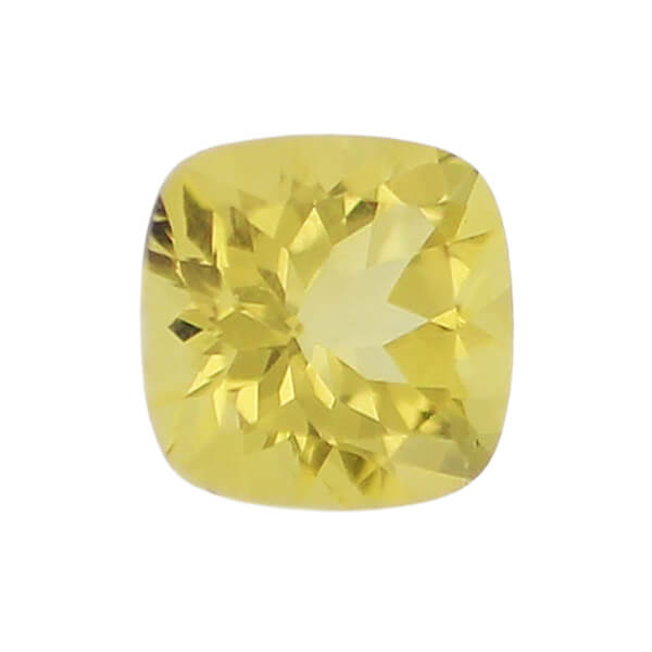 golden beryl gem, yellow, loose gemstone, unset stone, cushion shape, faceted