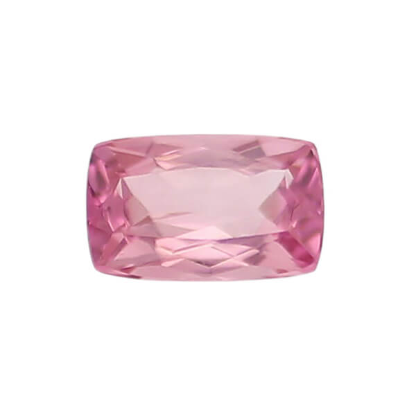 tourmaline gem, pink, loose gemstone, unset stone, cushion shape, faceted