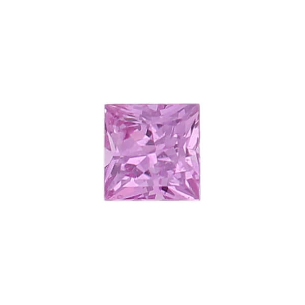 sapphire gem, pink, loose gemstone, unset stone, square shape, faceted
