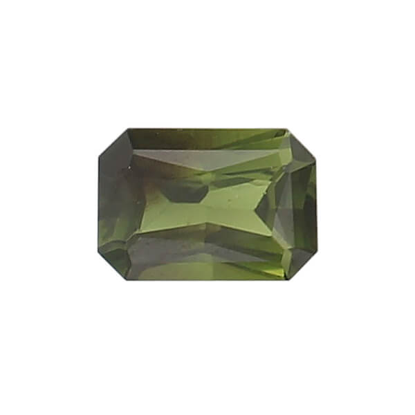 sapphire gem, green grey, loose gemstone, unset stone, octagon shape, faceted