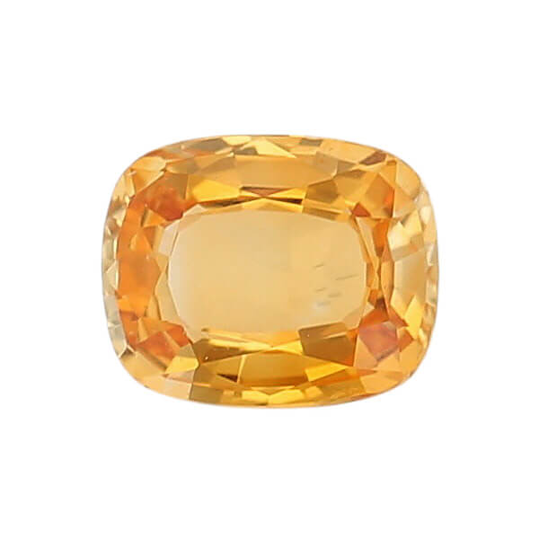 sapphire gem, orange yellow, loose gemstone, unset stone, cushion shape, faceted