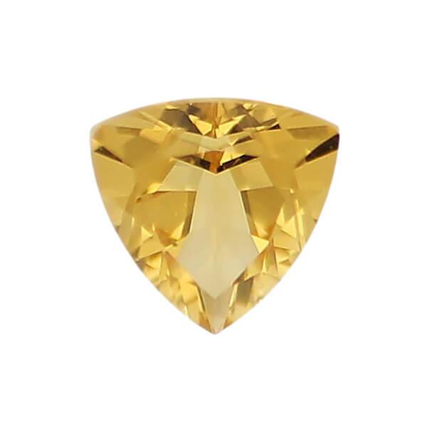 citrine gem, yellow orange, loose gemstone, unset stone, trillaint shape, faceted