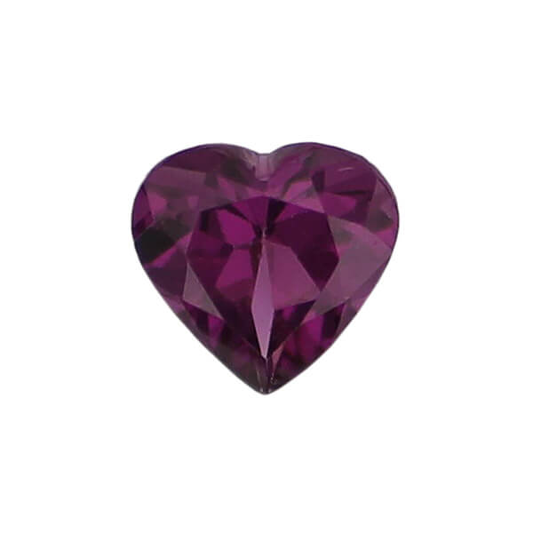 garnet gem, purple, loose gemstone, unset stone, heart shape, faceted