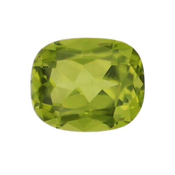 peridot gem, lime, yellow green, loose gemstone, unset stone, cushion shape, faceted