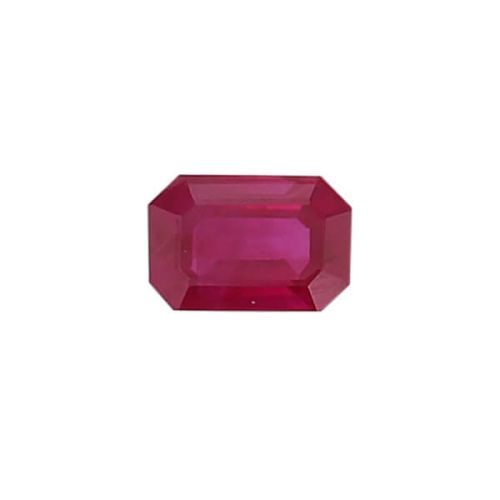 ruby gem, red, loose gemstone, unset stone, octagon shape, faceted
