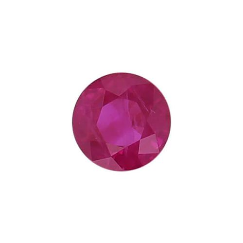 ruby gem, red, loose gemstone, unset stone, round shape, faceted