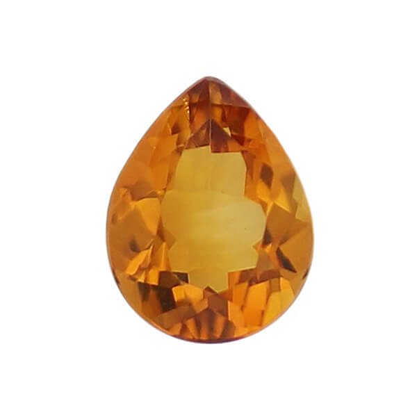 citrine gem, orange, loose gemstone, unset stone, pear shape, faceted