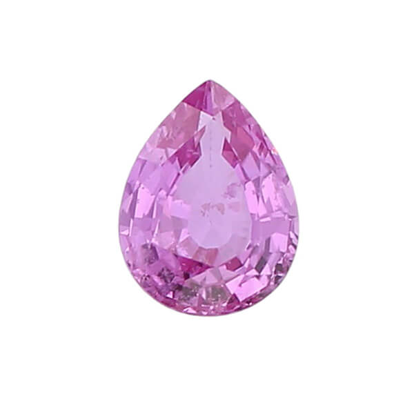 sapphire gem, pink, loose gemstone, unset stone, pear shape, faceted