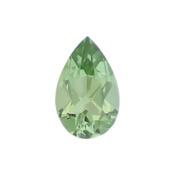 tourmaline gem, green, loose gemstone, unset stone, pear shape, faceted
