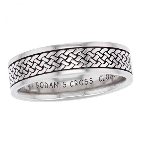 continuous celtic plait wedding ring pattern, men's, gents, Irish woven pattern