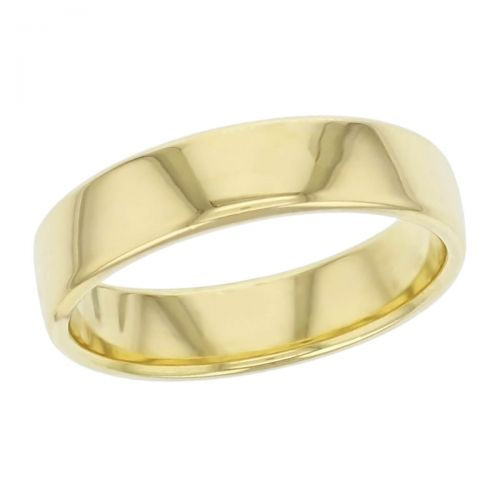 5.5mm wide, 18ct yellow gold, men's wedding ring, gents, bridal, plain, personalised engraving, curved profile, comfort fit, add pattern, marraige ring, precious jewellery by Faller of Derry/ Londonderry, jewelry