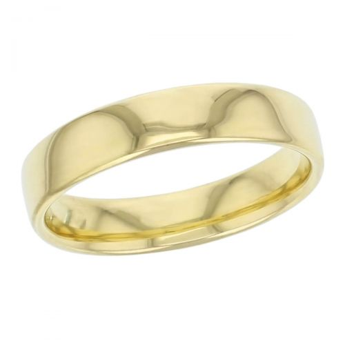 5mm wide, 18ct yellow gold, men's wedding ring, gents, bridal, plain, personalised engraving, curved profile, comfort fit, add pattern, marraige ring, precious jewellery by Faller of Derry/ Londonderry, jewelry