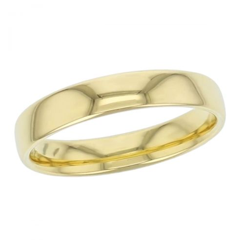 4.5mm wide, 18ct yellow gold, men's wedding ring, gents, bridal, plain, personalised engraving, curved profile, comfort fit, add pattern, marraige ring, precious jewellery by Faller of Derry/ Londonderry, jewelry