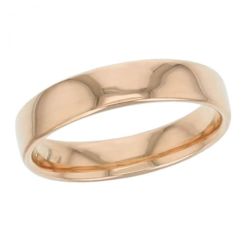 5mm wide, 18ct rose gold, men's wedding ring, gents, bridal, plain, personalised engraving, curved profile, comfort fit, add pattern, marraige ring, precious jewellery by Faller of Derry/ Londonderry, jewelry