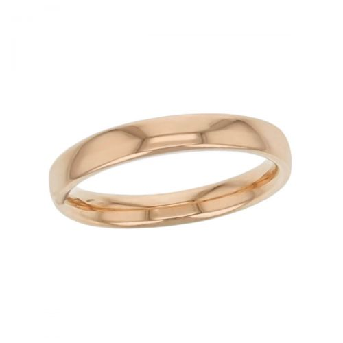3.0mm wide 18ct rose gold ladies wedding ring, woman's, bridal, plain, personalised engraving, court profile, comfort fit, add diamonds, marraige ring, precious jewellery by Faller of Derry/ Londonderry, jewelry