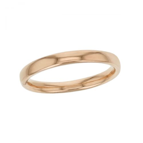 2.5mm wide 18ct rose gold ladies wedding ring, woman's, bridal, plain, personalised engraving, court profile, comfort fit, add diamonds, marraige ring, precious jewellery by Faller of Derry/ Londonderry, jewelry