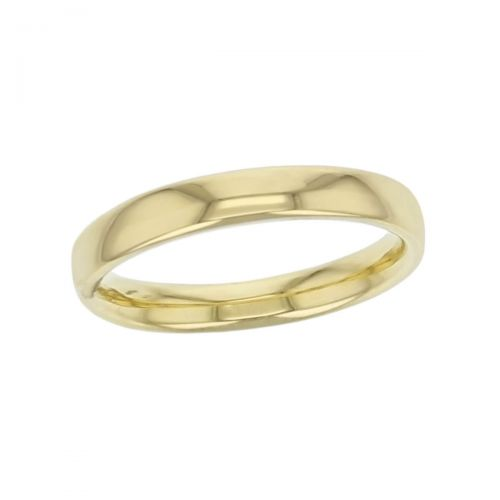 3.0mm wide 18ct yellow gold ladies wedding ring, woman's, bridal, plain, personalised engraving, court profile, comfort fit, add diamonds, marraige ring, precious jewellery by Faller of Derry/ Londonderry, jewelry