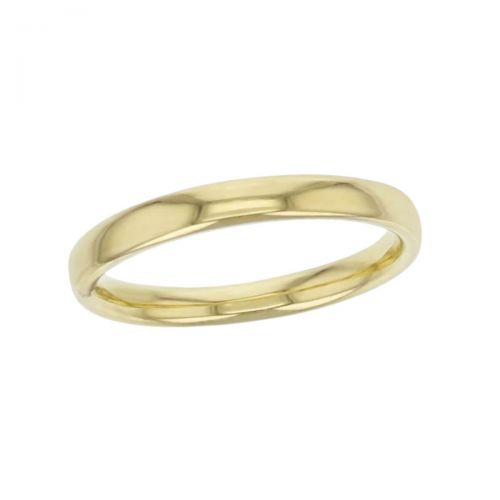 2.5mm wide 18ct yellow gold ladies wedding ring, woman's, bridal, plain, personalised engraving, court profile, comfort fit, add diamonds, marraige ring, precious jewellery by Faller of Derry/ Londonderry, jewelry