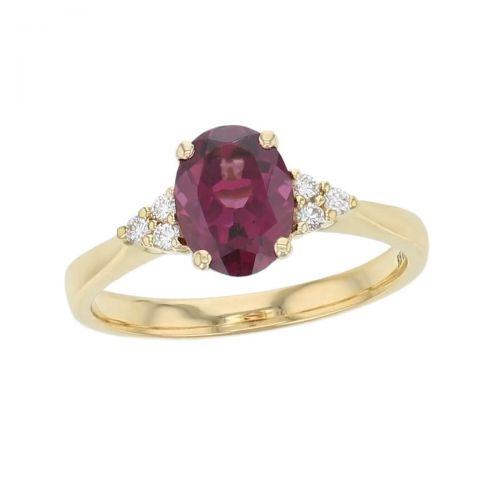 alternative engagement ring, 18ct yellow gold ladies oval cut burgundy rhodolite garnet & diamond designer multi stone engagement ring designed & hand crafted by Faller of Derry/ Londonderry, dress ring, precious gem jewellery, jewelry, shoulder set