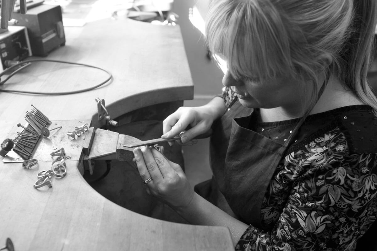 Faller goldsmiths at work, Faller the Jeweller, Derry/ Londonderry , Annemarie filing ring