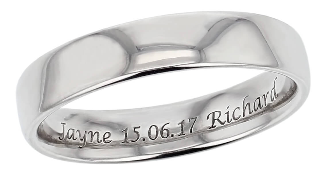 free inside ring engraving, platinum, palladium, 18ct gold