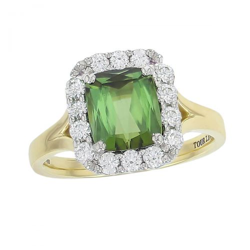 alternative engagement ring, 18ct yellow gold & platinum ladies cushion cut green tourmaline & diamond designer cluster engagement ring designed & hand crafted by Faller of Derry/ Londonderry, halo dress ring, cocktail ring, precious gem jewellery, jewelry