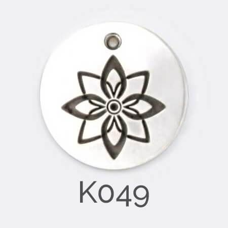 Faller Kryptos disc, sterling silver pendant, flower pendant, personalised jewellery