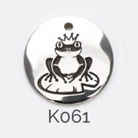 disc, sterling silver pendant, frog prince, crown , personalised jewellery