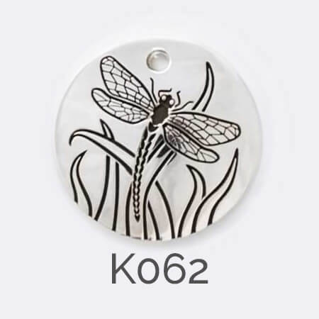 disc, sterling silver pendant, dragonfly, personalised jewellery