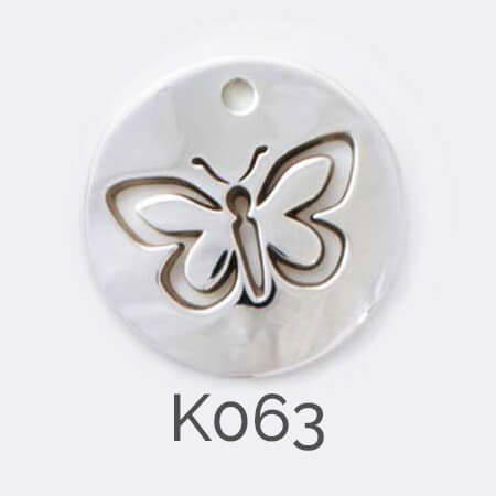 disc, sterling silver pendant, butterfly, personalised jewellery