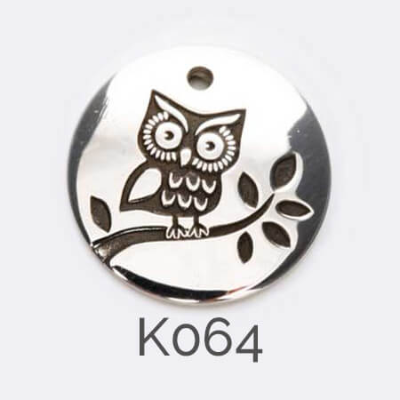 disc, sterling silver pendant, bird, owl, personalised jewellery