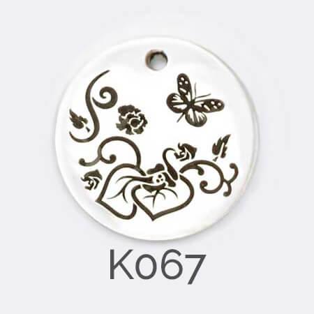 Faller Kryptos disc, sterling silver pendant, flower, leaves, butterfly personalised jewellery