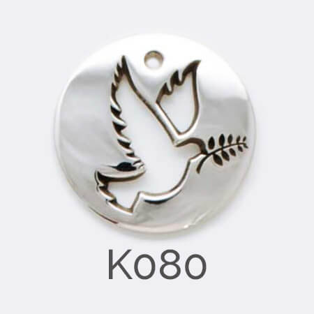 disc, sterling silver pendant, bird, dove, peace, personalised jewellery