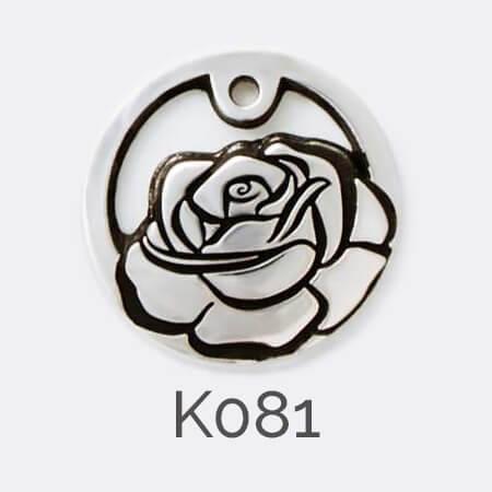 Faller Kryptos disc, sterling silver pendant, rose, flower, personalised jewellery