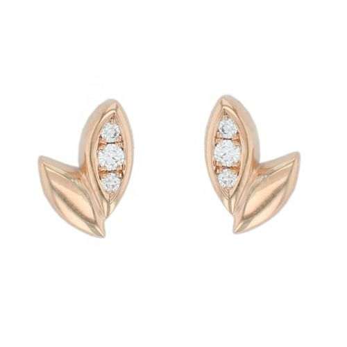 18ct rose gold Faller falling leaves diamond stud earrings, designer jewellery, jewelry, handcafted, fall
