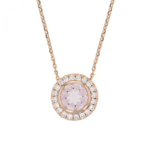 Faller round cut pink morganite gemstone & diamond halo 18ct rose gold ladies pendant with chain, 18kt, designer, handmade by Faller, Derry/ Londonderry, hand crafted, precious jewellery, jewelry