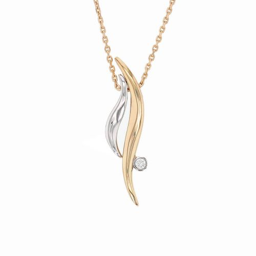 Faller Flame diamond pendant, 18ct white gold, 18ct rose gold, designer jewellery, jewelry, hand crafted