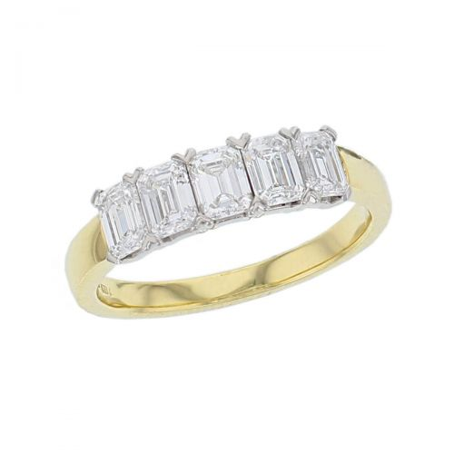 18ct yellow gold & platinum ladies 5 emerald cut octagon cut claw set diamond eternity ring, woman's bridal, personalised engraving, court profile, comfort fit, precious jewellery by Faller of Derry/ Londonderry, jewelry, 18kt